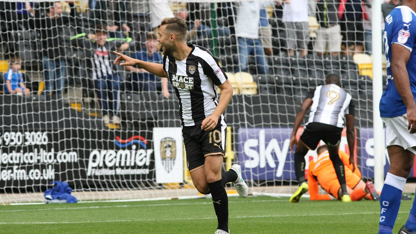 Grant celebrates v Chesterfield